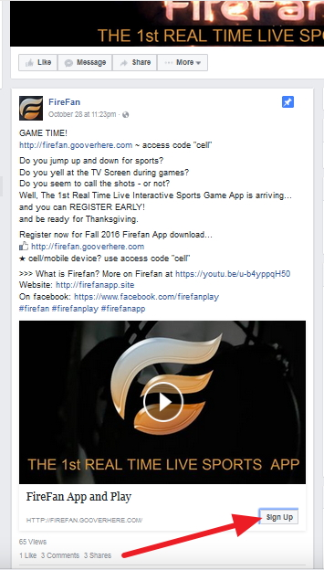 Where to find the fb Sign Up button for FireFan
